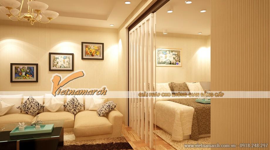 Ngăn cách phòng khách với phòng ngủ là một tấm kính trong suốt cao sát trần. - Thiết kế nội thất chung cư Park Hill