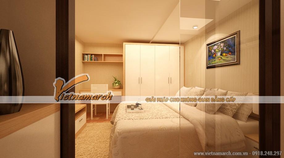 Phòng ngủ không rộng nhưng đầy đủ tiện nghi.
