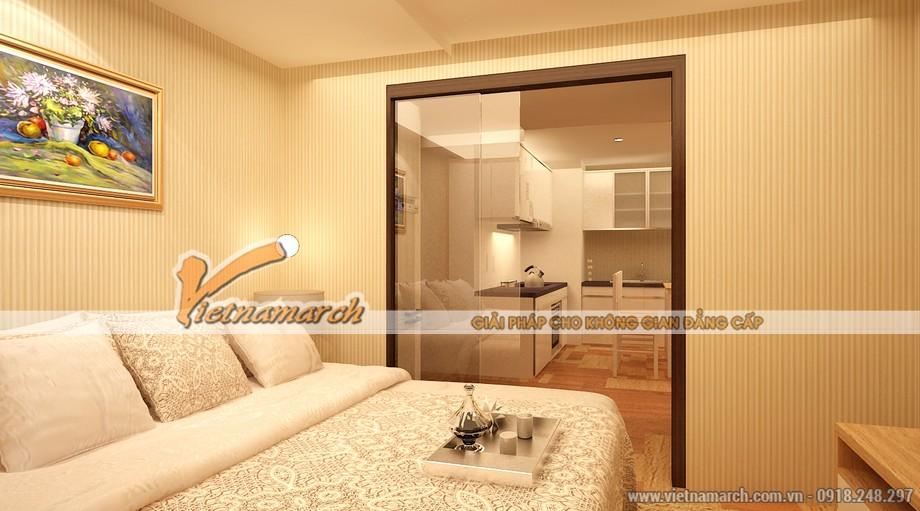Phương án thiết kế nội thất chung cư Park Hill - Từ phòng ngủ có thể nhìn thông ra khu vực nhà bếp