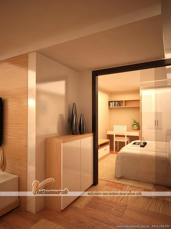 Một phòng ngủ được thiết kế đối diện với bếp