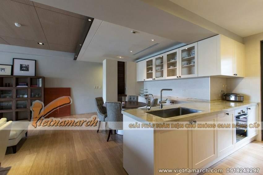 Thiết kế nội thất chung cư hiện đại với phòng bếp giản đơn