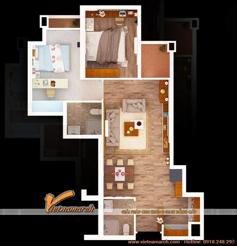 Mặt bằng của thiết kế nội thất chung cư Golden Land của chị Hạnh