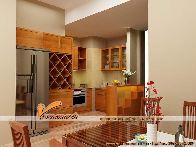 Thiết kế nội thất bàn ăn và căn bếp đồng điệu lấy gỗ làm chủ đạo