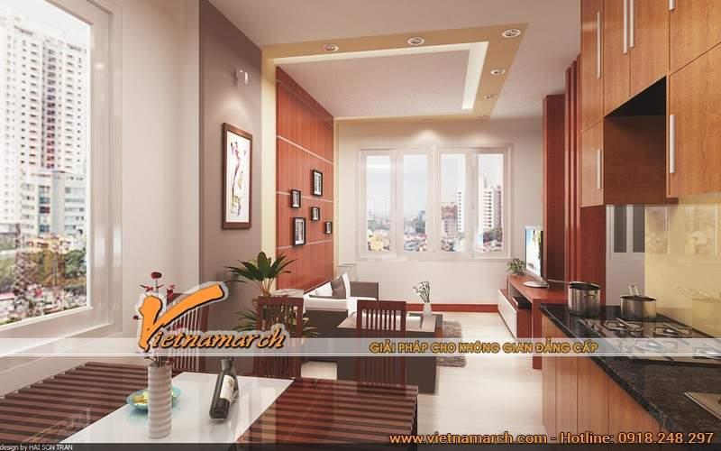 Góc nhìn vẻ đẹp phòng khách từ căn bếp - Nội thất chung cư Golden Land