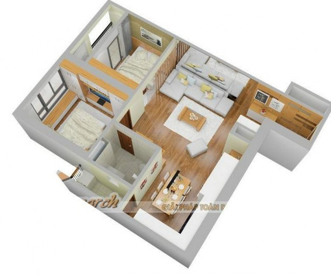 Thiết kế nội thất chung cư Park Hill Times City tòa Park 2 căn hộ 73m2