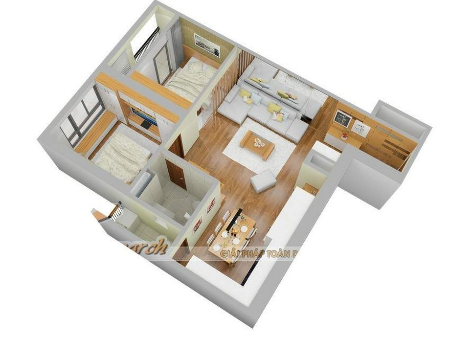 Mặt bằng căn hộ nội thất chung cư Park Hill 2 Vinhomes Time City nhà anh Tú- chị Dung