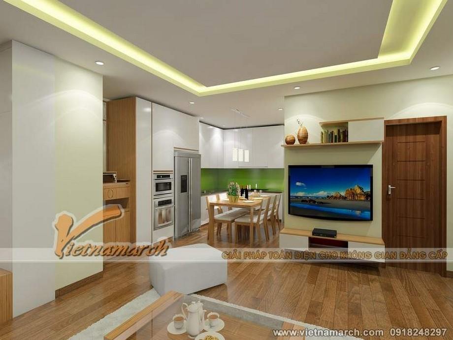 Nội thất phòng bếp hiện đại, tiện nghi trong căn hộ 73m2 chung cư Park Hill Times City