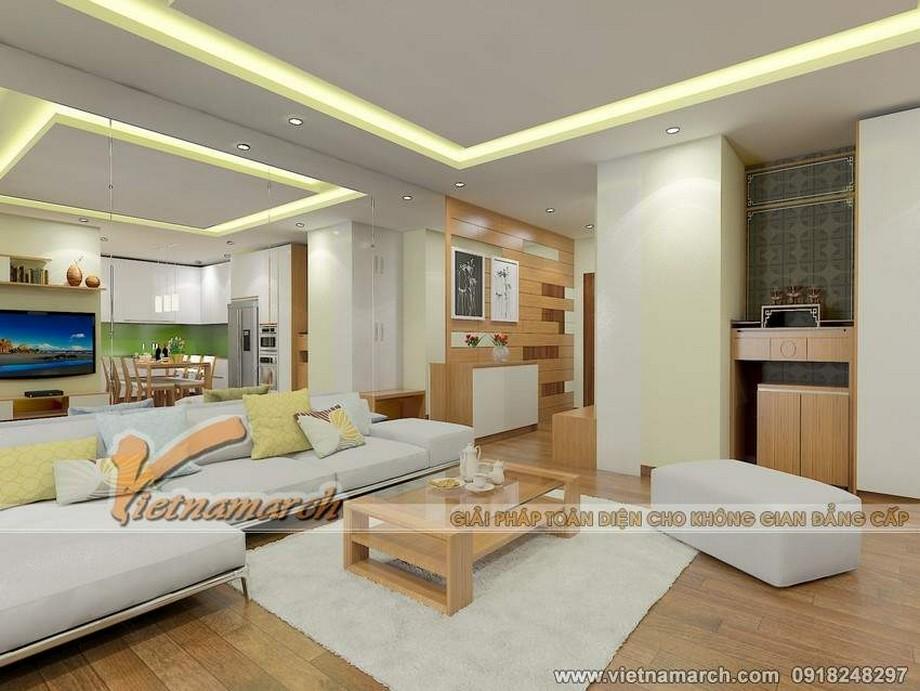 Nội thất phòng khách hiện đại và ấm cúng trong căn hộ 73m2 tại tòa Park 2 chung cư Park Hill