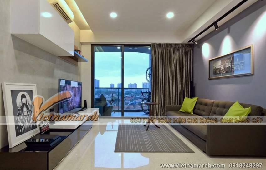Toàn cảnh không gian phòng khách - Phương án thiết kế nội thất chung cư Park Hill Times City