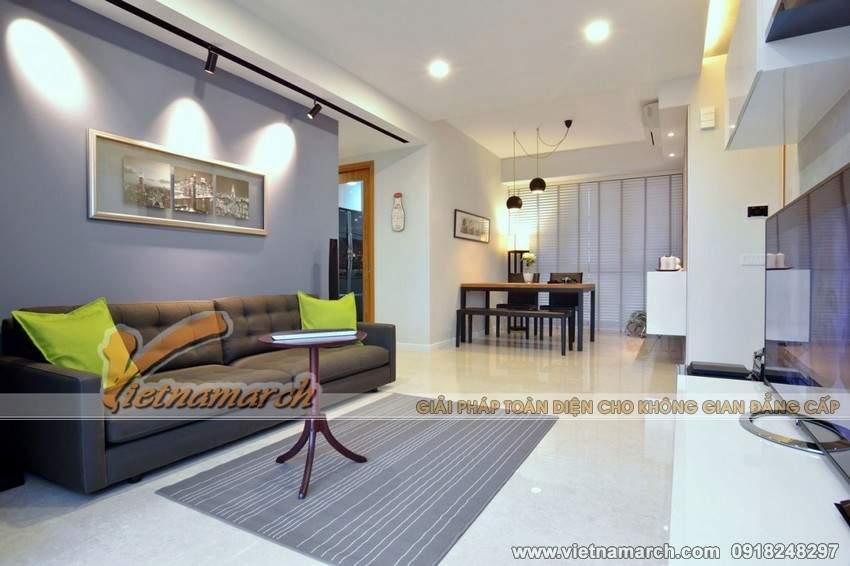 Phòng khách được thiết kế đơn giản, tiết kiệm diện tích nhằm mang tới không gian thoáng và rộng