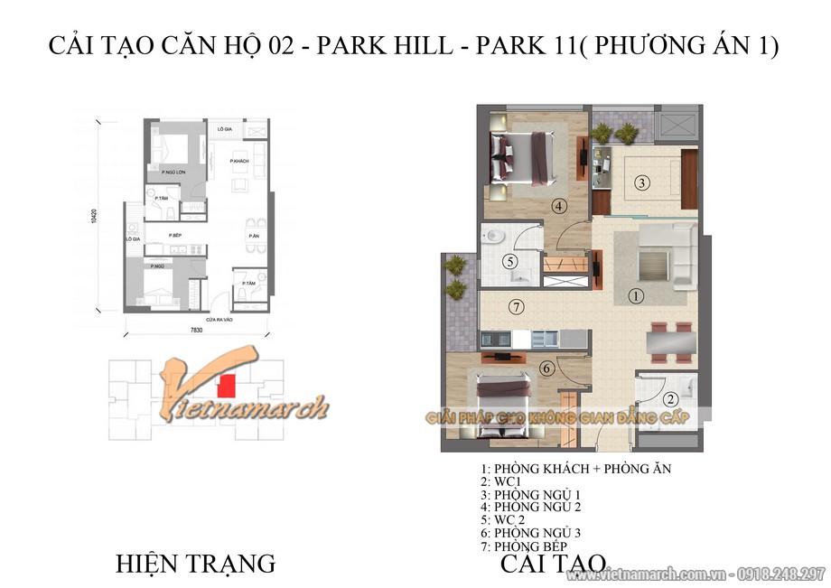 Mặt bằng phương án 1 thiết kế nội thất chung cư Park Hill được KTS của Vietnamarch đưa ra