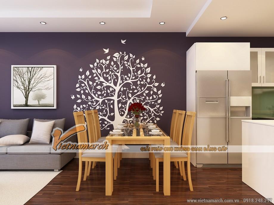 Bộ bàn ăn đơn giản mà hiện đại là sự phân chia khéo léo cho phòng khách và phòng bếp