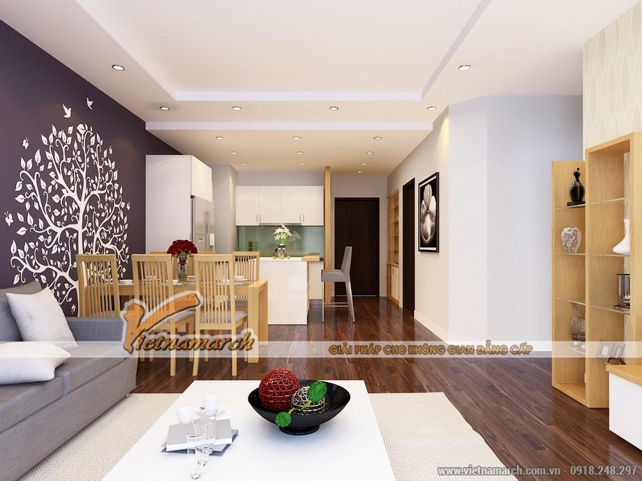 Thiết kế phòng khách và nhà bếp liền mạch tạo sự thông thoáng rộng rãi cho căn nhà