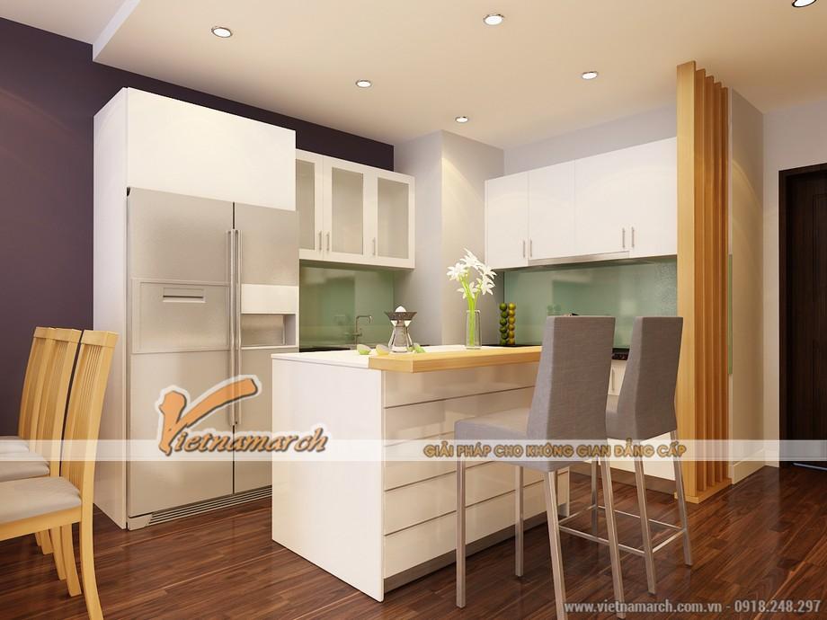 Không gian bếp nấu không rộng nhưng rất đầy đủ tiện nghi nhờ cách sắp đặt thông minh