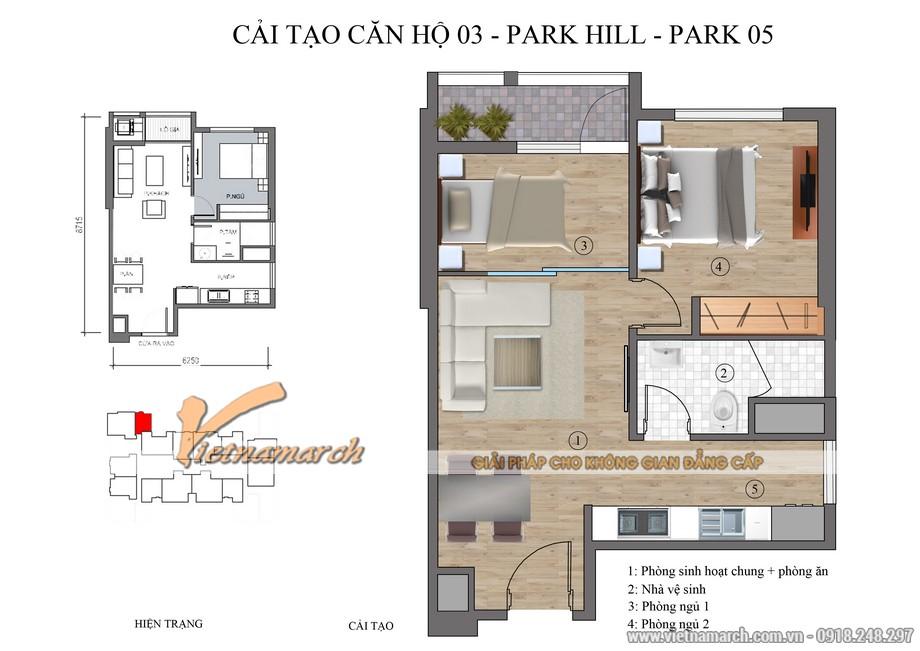 Mặt bằng tổng thể thiết kế nội thất chung cư Park Hill căn hộ P5-03 diên tích 98,5 m2
