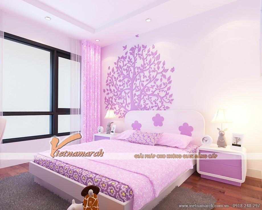 Phòng ngủ của con gái được thiết kế với tông màu tím thơ mộng - Nội thất chung cư ParK Hill