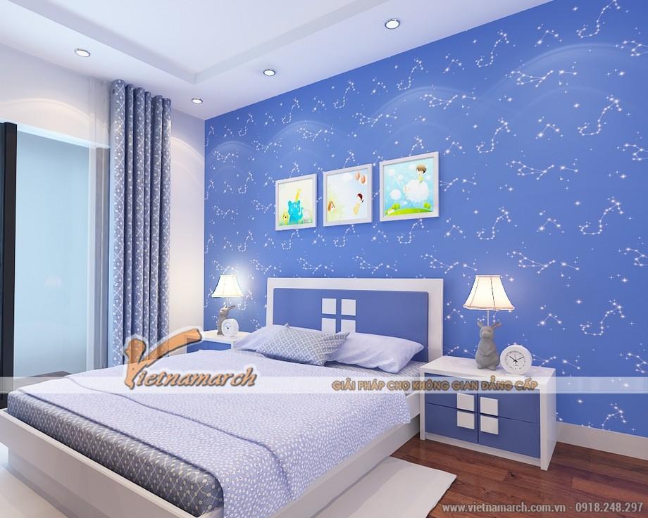 Thiết kế nội thất phòng ngủ cho con trai với tông màu xanh dương cá tính