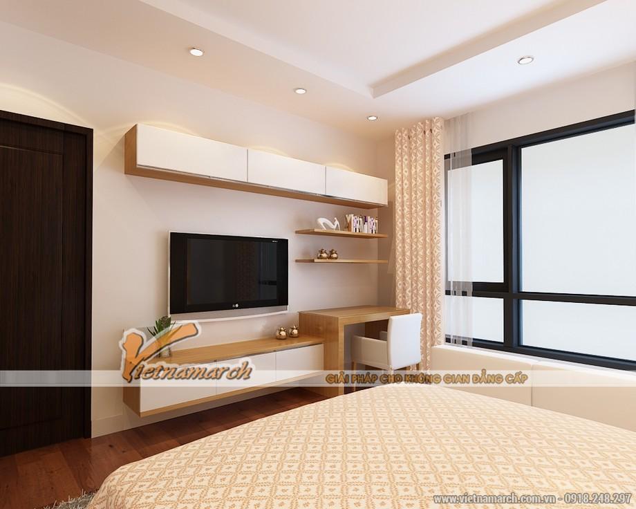 Phòng ngủ master có diện tích rộng thiết kế hiện đại đầy đủ tiện nghi, lựa chọn tông màu sáng sủa