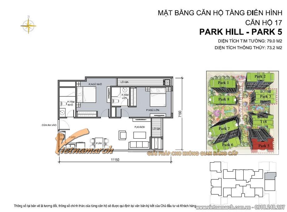 Mặt bằng căn hộ 17 park 5 chung cư Park Hill Times City