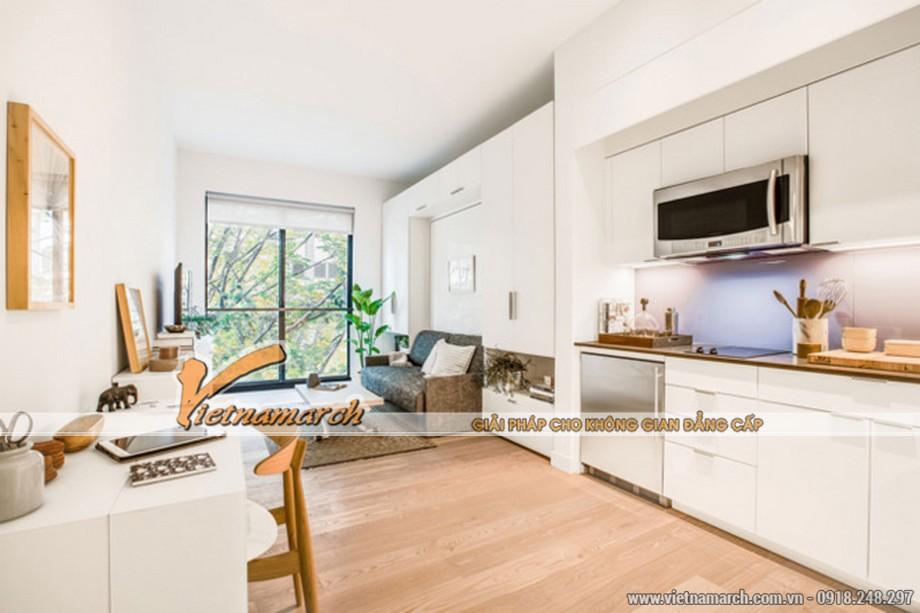 Trần cao với cửa sổ kính sát sàn nhà giúp căn hộ thoáng đãng hơn. - thiết kế nội thất chung cư siêu nhỏ