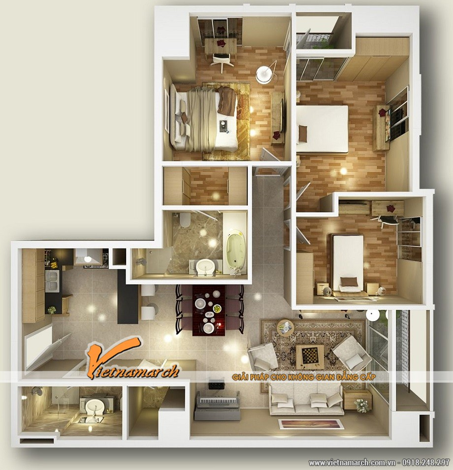 Mặt bằng thiết kế nội thất căn hộ mẫu chung cư D'. LE PONT D' OR Hoàng Cầu