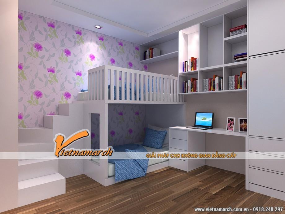 Phòng ngủ giành cho các bé với thiết kế giường tầng, kệ sách sát tường, đẹp mắt.