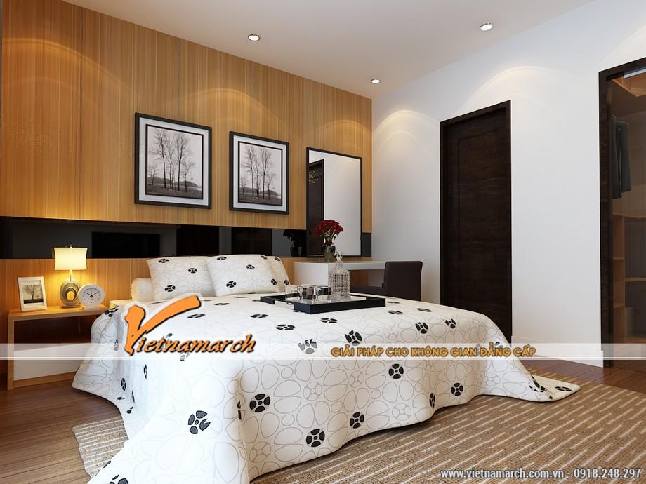 Phòng ngủ ấm áp và tinh tế với cách lựa chọn những tông màu nhẹ đan xen với hoa văn đơn giản