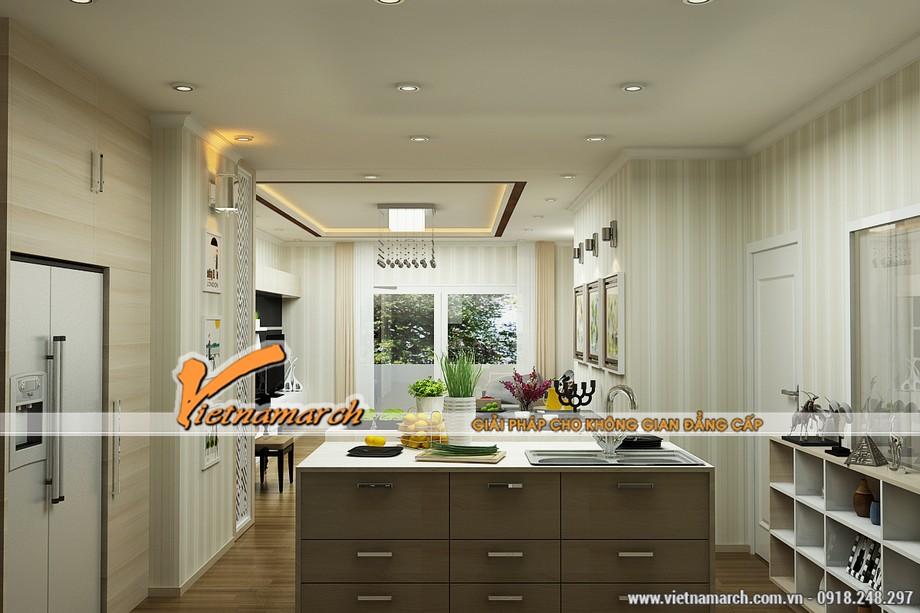 Phòng bếp với thiết kế hiện đại vô cùng tiện nghi - phương án thiết kế nội thất chung cư Times City căn T2303