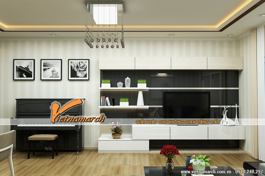 Thiết kế nội thất phòng khách căn hộ T32301 chung cư times city cao cấp nhà anh Hùng