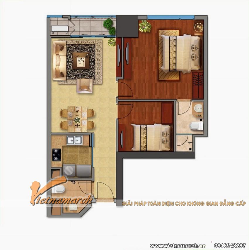 Phương án thiết kế nội thất chung cư Times City căn hộ T10 nhà cô Thuật