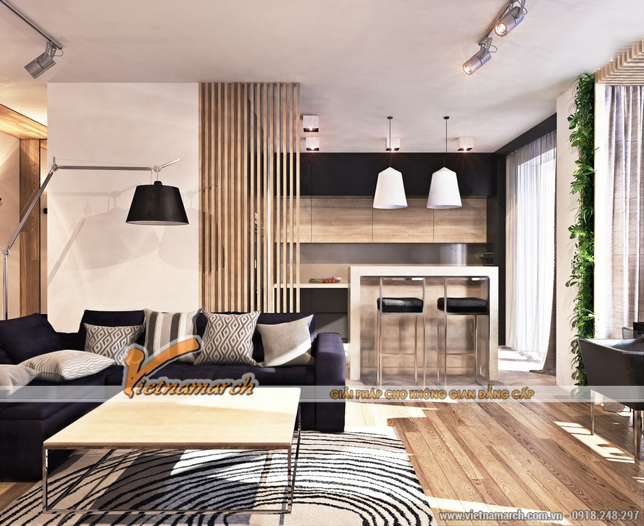 Phòng khách đơn giản với sofa băng và ghế đơn - Nội thất chung cư Times City đẹp