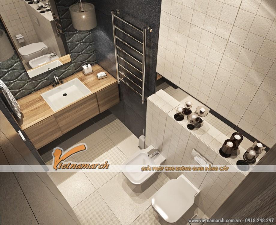 Phòng tắm là sự kết hợp của hiện đại và những chi tiết gỗ mộc mạc