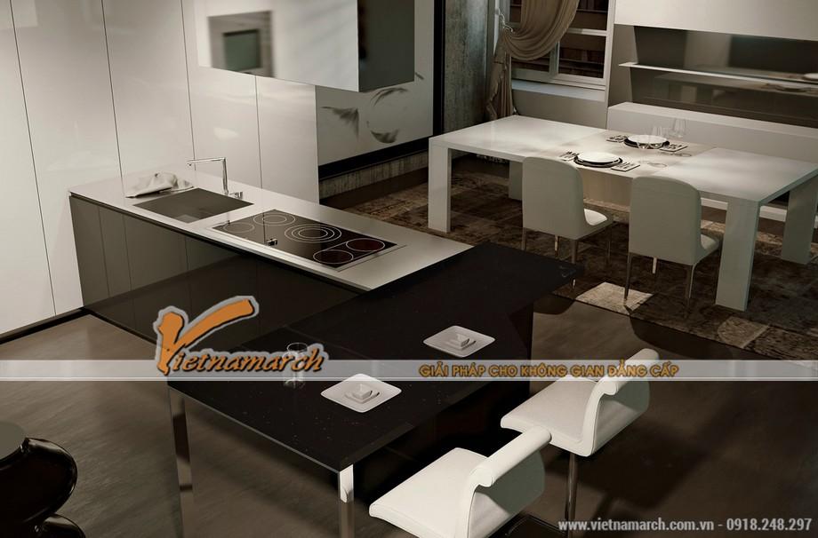 Mẫu nội thất nhà bếp số 2 - sự kết hợp giữa 2 tông màu đen và trắng làm nhà bếp thêm phần hiện đại