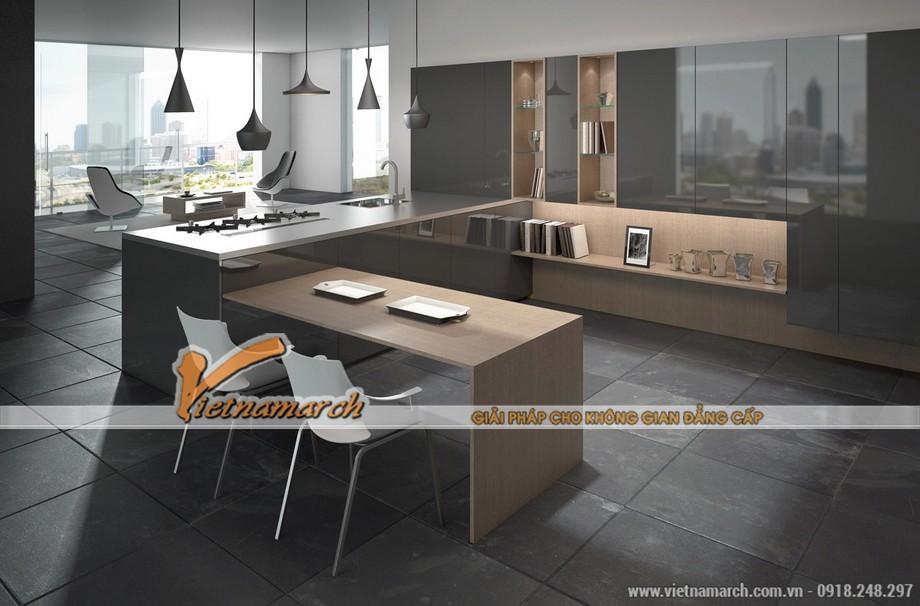 Mẫu nhà bếp số 4 thêm phần hiện đại với những chiếc đèn thả thiết kế độc đáo