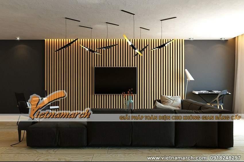Bộ sofa đen kết hợp cùng tông màu trung tính của căn phòng - Nội thất chung cư Park Hill