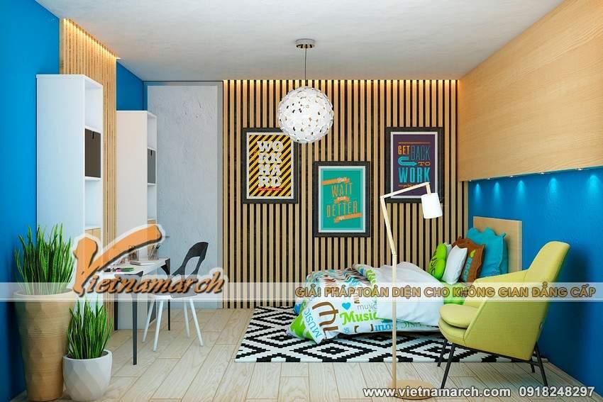 Phòng ngủ cho con thiết kế, trang trí với nhiều màu sắc nổi bật