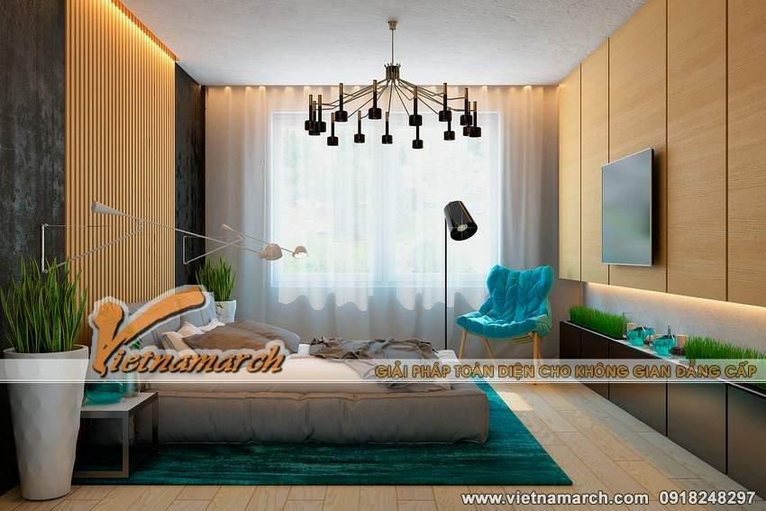 Phòng ngủ được cải cách với tông màu xanh tạo sự trẻ trung, năng động