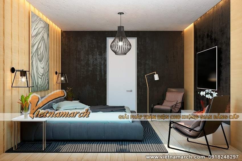 Phòng ngủ với tông màu trầm ấm áp - Nội thất căn hộ 3 phòng ngủ chung cư Park Hill