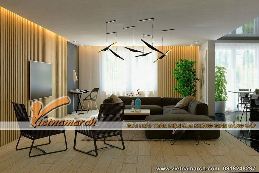 Phòng khách ấm cúng với gam màu trung tính - Thiết kế nội thất căn hộ park hill
