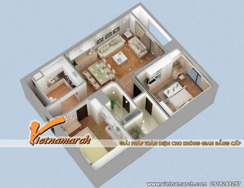 Phương án thiết kế nội thất căn hộ T1.08 chung cư Times City nhà chị Hồng