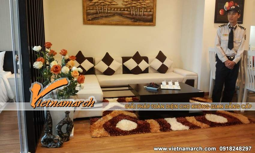 Phòng khách sang trọng và nổi bật - Thiết kế nội thất chung cư Times City
