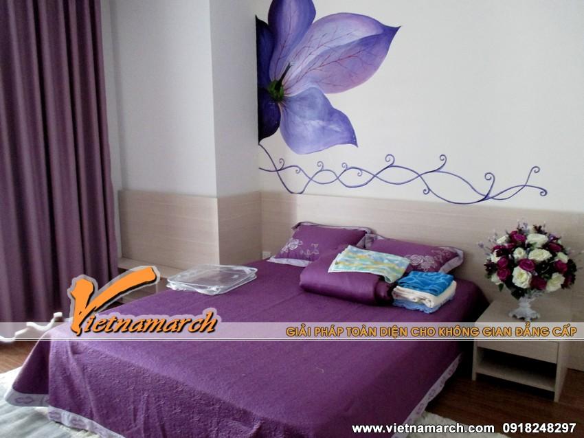Phòng ngủ 1 được thiết kế với màu tím lãng mạn
