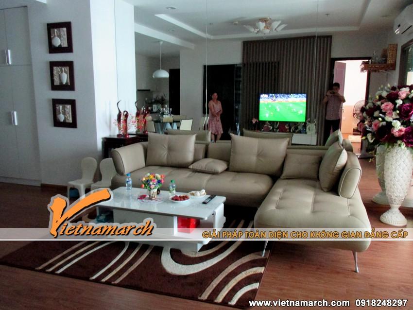 Phòng khách ấm cúng và sang trọng - nội thất căn hộ T11-0903chung cư Times City