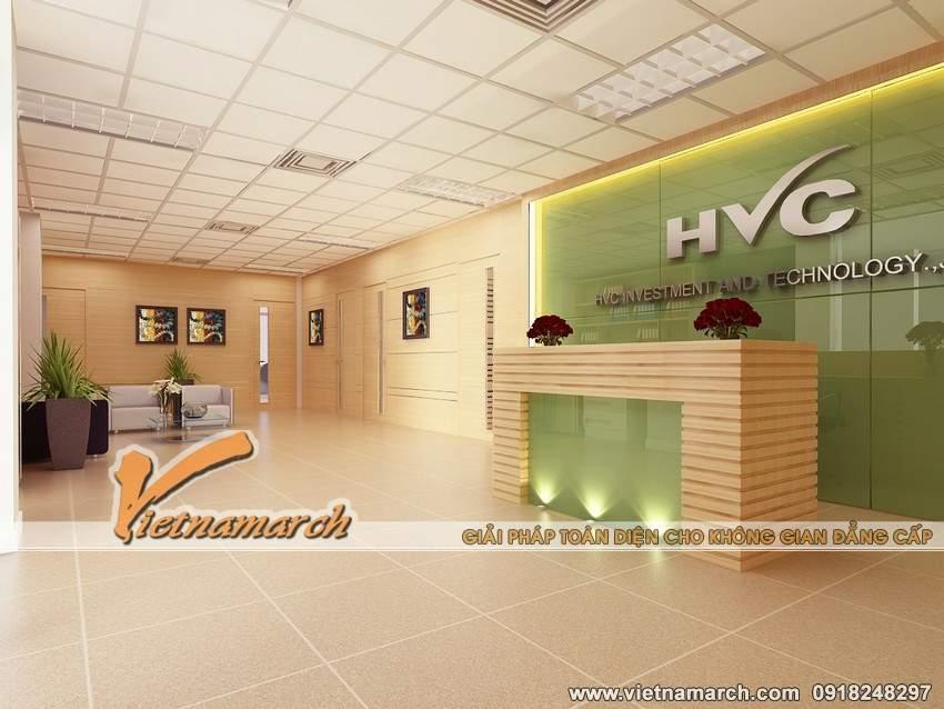 Mẫu thiết kế sảnh văn phòng công ty HVC