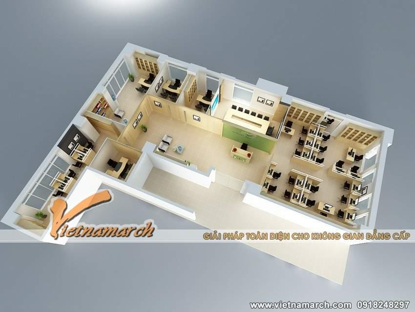 Bản vẽ thiết kế nội thất văn phòng làm việc của công ty HVC phương án 1