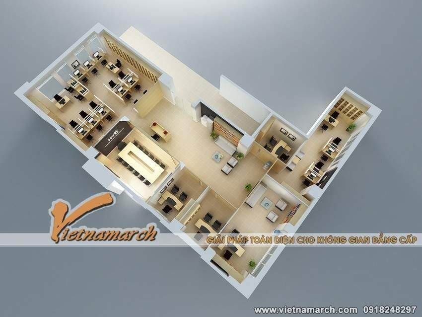 Bản vẽ 3D thiết kế nội thất văn phòng làm việc của công ty HVC phương án 2