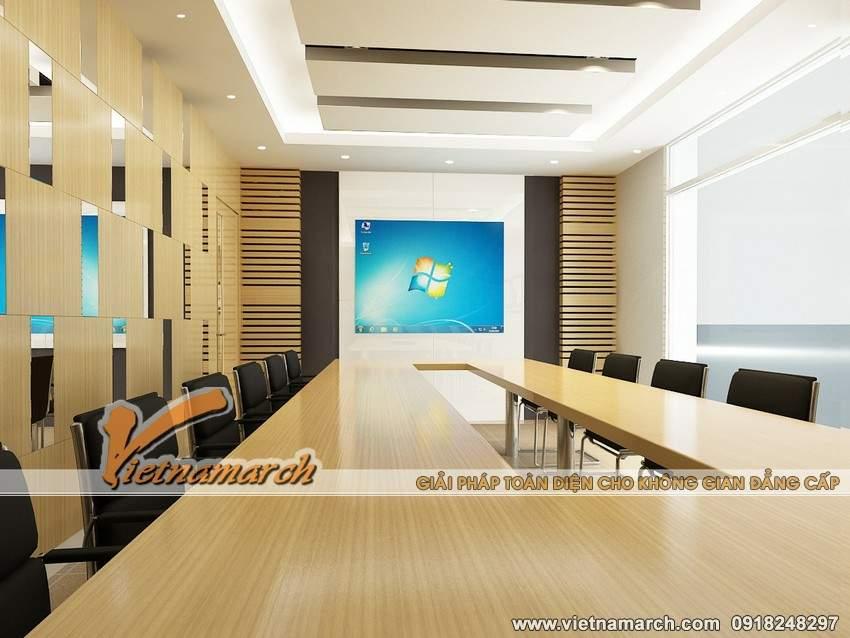 Phòng họp nhìn từ phía khác lại có thiết kế đồng bộ và đơn giản nhưng mang dáng vẻ hiện đại.