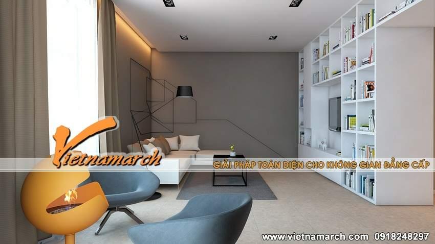 Phòng khách được bài trí đơn giản - thiết kế nội thất chung cư Times City