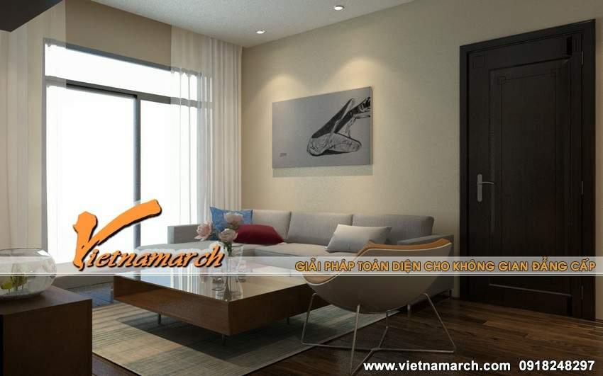 Phòng khách đơn giản và tràn ngập ánh mặt trời - thiết kế nội thất chung cư Times City