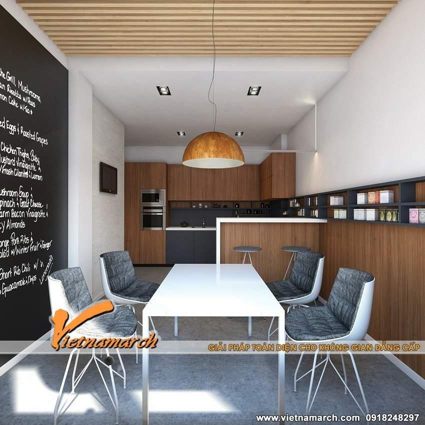 Bộ bàn ăn được thiết kế khá đơn giản nhưnghiện đại là điểm nhấn của phòng ăn - thiet ke noi that chung cư Times City